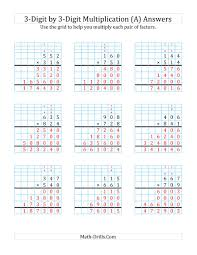 3 Digit By 3 Digit Multiplication With Grid Support A
