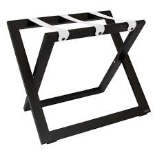compact wooden luggage rack black with leather straps case of 6