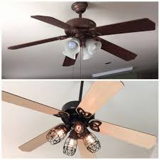 ceiling fan light shades awesome diy ceiling fan makeover add cage bulb guards and edison bulbs