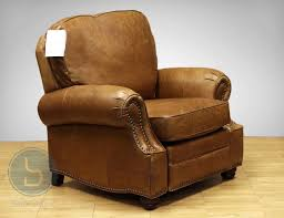 barcalounger longhorn ii leather recliner chair in chaps saddle profile view
