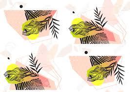 Handgemaakte Abstracte Zomer Exotische Jungle Plant Tropische Palm