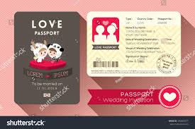 Cartoon Passport Wedding Invitation Card Design Stock Vector ...
