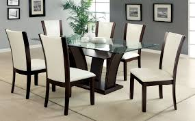 glass top dining table with  chairs  home and furniture