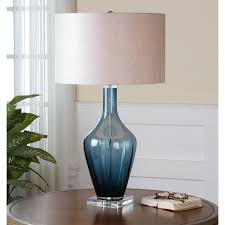 blue table lamp glass