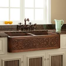 36 vine design double bowl copper farmhouse sink