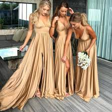 <b>Robe Demoiselle D'Honneur</b> Sexy Slit Champagne Gold ...