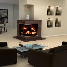 living room amazing modern living space design idea with two sided corner fireplace also built in wall shelves plus brown sofa sets warm ambiance living