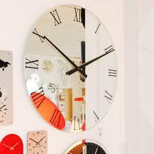 Small Picture Extra large black roman numerals mirror wall clocks UK Clocks