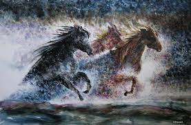 the thrill of wild horses painting by nhowell