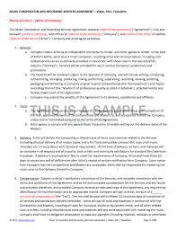 Company Contract Template Music Composition And Recording Service Contract Template 9