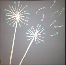 Diy Canvas Teal And Gray Diy Dandelion Canvas Painting Art Pinterest