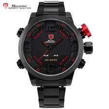 aliexpress com buy gulper shark sport watch series digital led gulper shark sport watch series digital led stainless full steel black red date day alarm men s