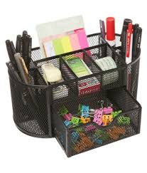 callas black metal mesh desk organizer
