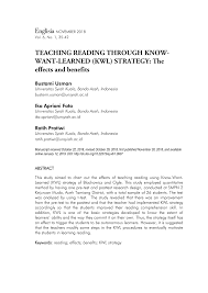 Pdf Teaching Reading Through Know Want Learned Kwl