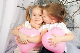 Little Couple Of Kids Hugging Kissing And Holding Heart Balloons Gorgeous Little Couple Photo Download