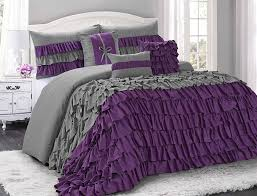uniquen home 7 piece brise double color clearence ruffled comforter set queen king cal king size queen purple grey com