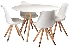 orso white top round dining table with oak legs