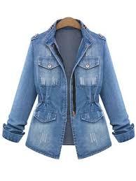 plus size stand collar tight waist women s denim jacket