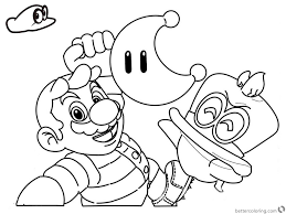Super Mario Odyssey Coloring Pages Line Drawing Free Printable