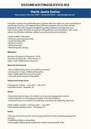 Gallery Of Kindergarten Teacher Resume Sample Resume Writing Service
