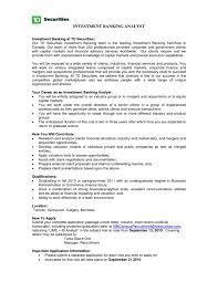 Investment Banking Internship Cv Example Intern Resume Format