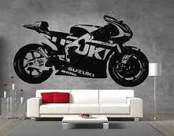 image is loading moto gp suzuki motorbike vinyl sticker wall art  on motorbike wall art australia with moto gp suzuki motorbike vinyl sticker wall art boys bedroom garage
