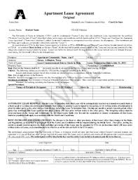 Apartment Lease Contract Front Page Properties - Fill Online ...