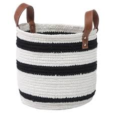 palecek modern classic roscoe small white and navy blue woven basket with leather handles kathy