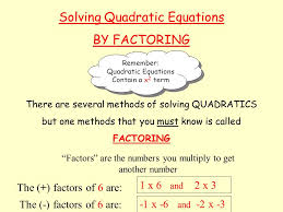 4 solving quadratic equations
