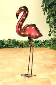 flamingo outdoor decor yard solar powered decorations pink metal led garden f