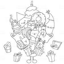 Kerst Doodle Kleurplaat Kerstman Met Giften En Kawaii Dieren