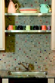 fiestaware kitchen eclectic with kitchen shelves mosaic tiles pastel colors stainless steel shelves tile backsplash