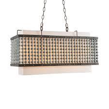 vintage fabric shade distressed wood beads rectangular metal frame pendant light