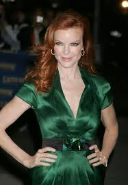 marcia cross red hair green dress