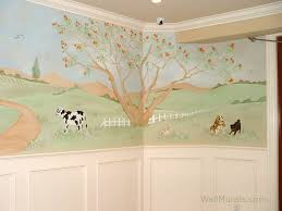 farm mural in baby room