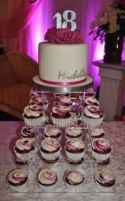 Debut Cake Design Debut Cake Cupcake Display Fuschia White Silver Roses