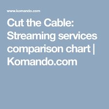 Cut The Cable Streaming Services Comparison Chart New