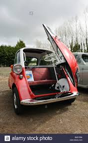 bmw isetta bubble car with the front door open stock image
