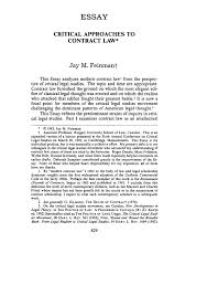 critical approaches to contract law essay ucla law review  what is
