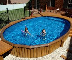 above ground pool with deck surround. Above Ground Wooden Pool Deck With Surround