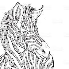 Small Picture Coloring Book Page For Adult And Children Zebra stock vector art