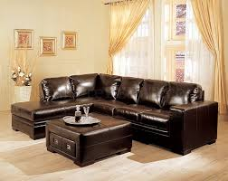 Dark Brown Bycast Leather Sectional Sofa wStorage Ottoman