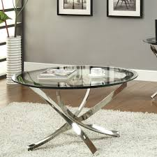 glass coffee table round steel modern display for replacement