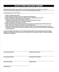 scholarship templates 7 scholarship contract samples templates pdf doc