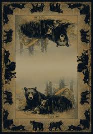 time to play bear rug by hautman brothers wildlife cabin lodge area rug