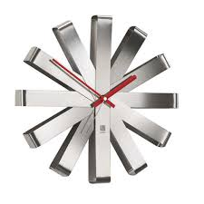 Kitchen Wall Clocks Modern Amazoncom Umbra Ribbon Wall Clock Stainless Steel Home Kitchen