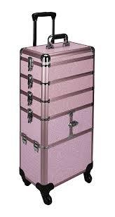 sunrise pink krystal professional trolley makeup case i3364 0