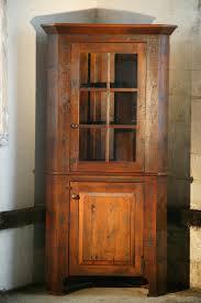 standard reclaimed wood corner cabinet with glass door