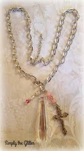 crystal chandelier pendant assemblage necklace