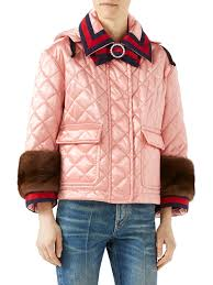 Lyst - Gucci Mink-trim Quilted Jacket in Pink & Gucci. Women's Pink Mink-trim Quilted Jacket Adamdwight.com
